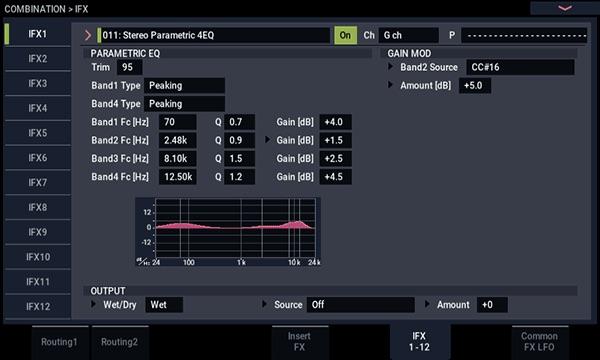 KORG NAUTILUS シンセサイザー エフェクターエディット画面画像 3