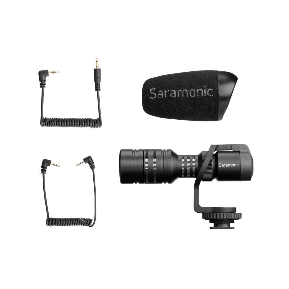 Saramonic Vmic Mini デジタル一眼レフ ビデオカメラ スマートフォン用 コンデンサーマイク 内容品画像