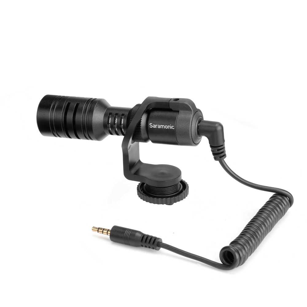 Saramonic Vmic Mini デジタル一眼レフ ビデオカメラ スマートフォン用 コンデンサーマイク ケーブル取り付け時画像