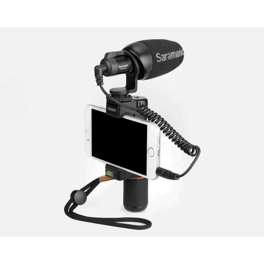 Saramonic Vmic Mini デジタル一眼レフ ビデオカメラ スマートフォン用 コンデンサーマイク スマートフォンホルダー取り付けイメージ画像