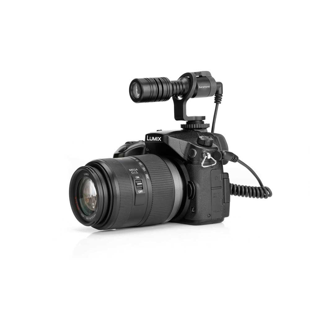 Saramonic Vmic Mini デジタル一眼レフ ビデオカメラ スマートフォン用 コンデンサーマイク デジタル一眼レフカメラ取り付けイメージ画像 表側