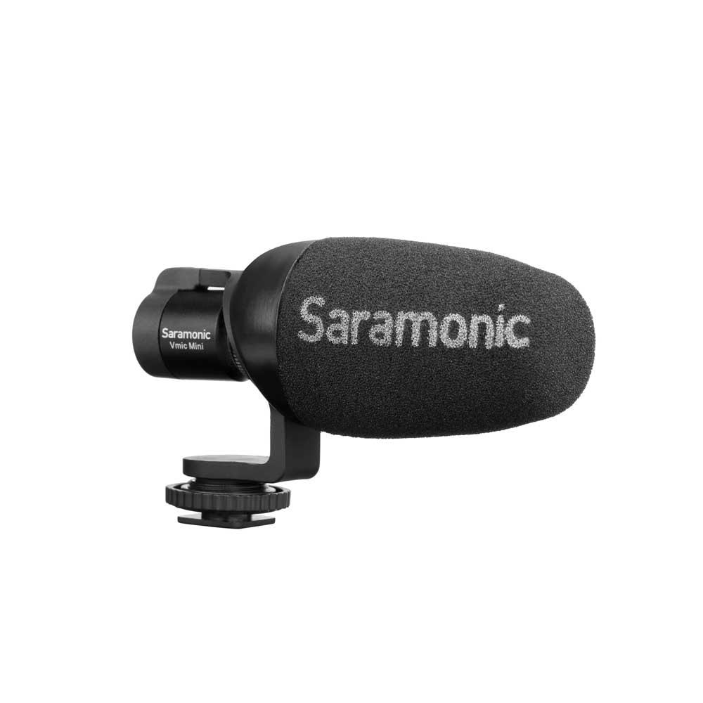 Saramonic Vmic Mini デジタル一眼レフ ビデオカメラ スマートフォン用 コンデンサーマイク ウィンドスクリーン取り付け画像