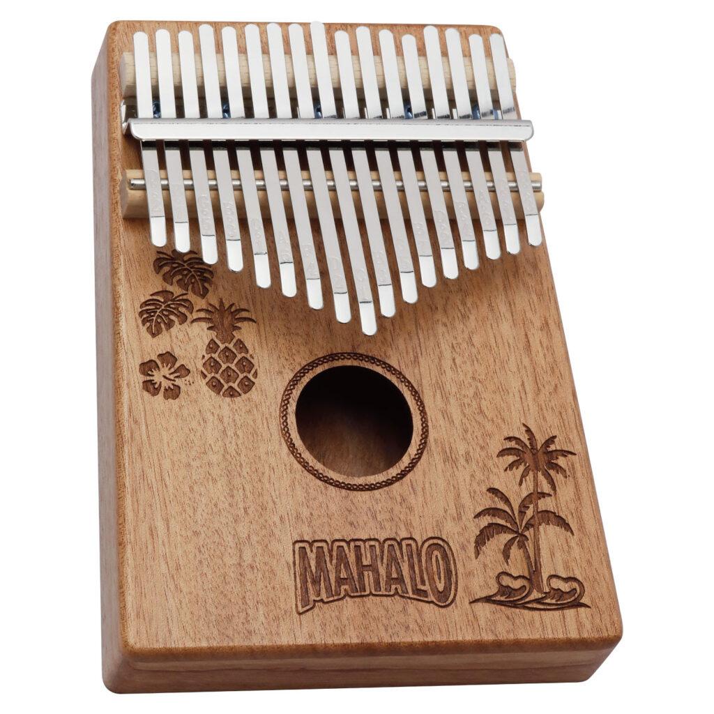 MAHALO M-KALIMBA HWI ハワイデザイン カリンバ モンステラ、ハイビスカス、パイナップル、ヤシの木、波のモチーフをデザイン