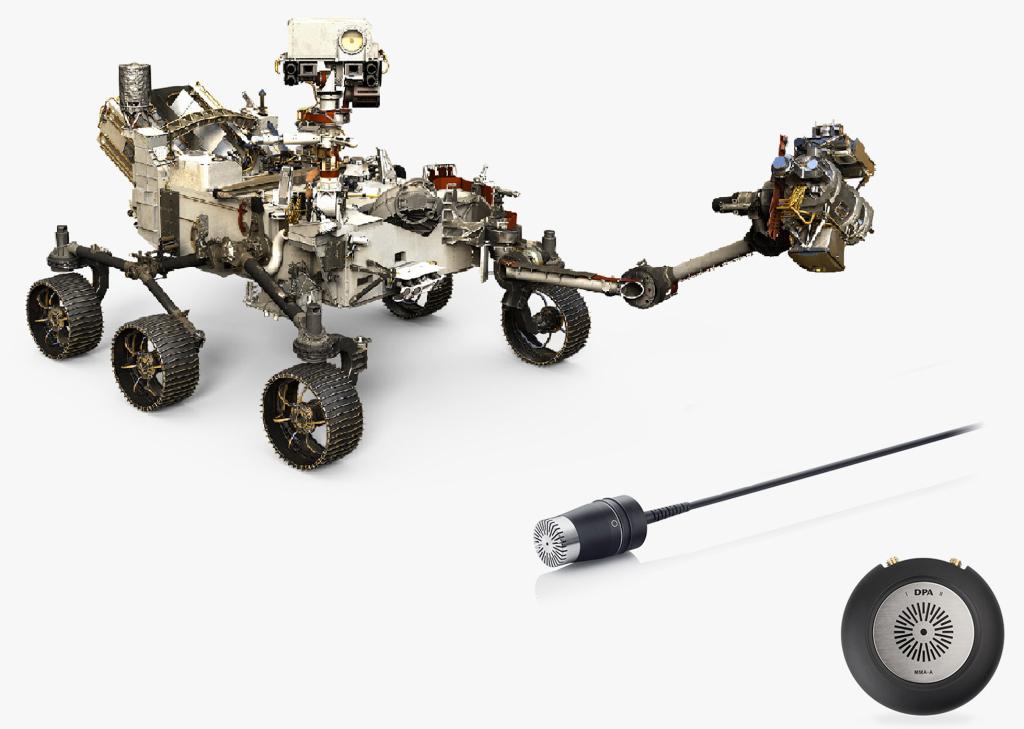 NASAの火星探査機マーズ2002と搭載されたDPAのマイクロフォン4006、オーディオインターフェイスのVIMMA-A