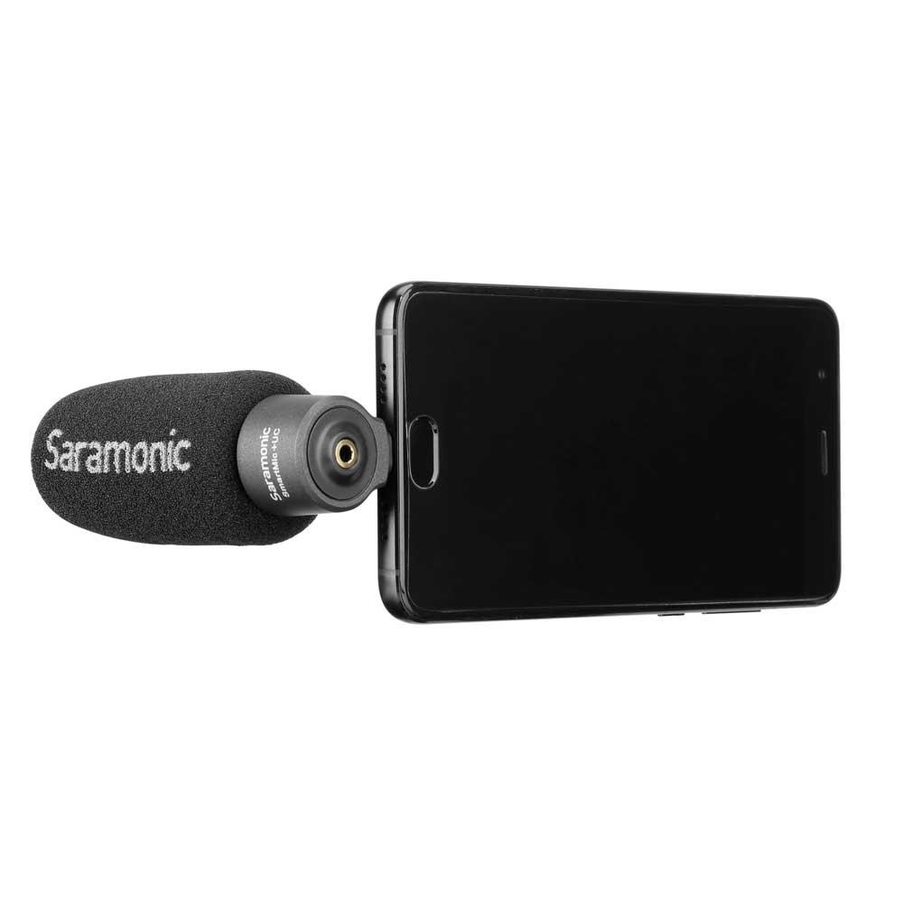 Saramonic SmartMic+ UC USB TYPE-C端子入力 コンパクトマイク コンデンサーマイク スマホ装着イメージ ウィンドスクリーン付き