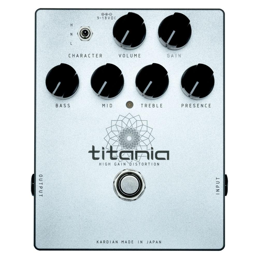 ギタリストLEDA 氏のシグネチャーモデルとして開発されたハイゲインディストーション titania。ブランド名はKarDiaN カージアン