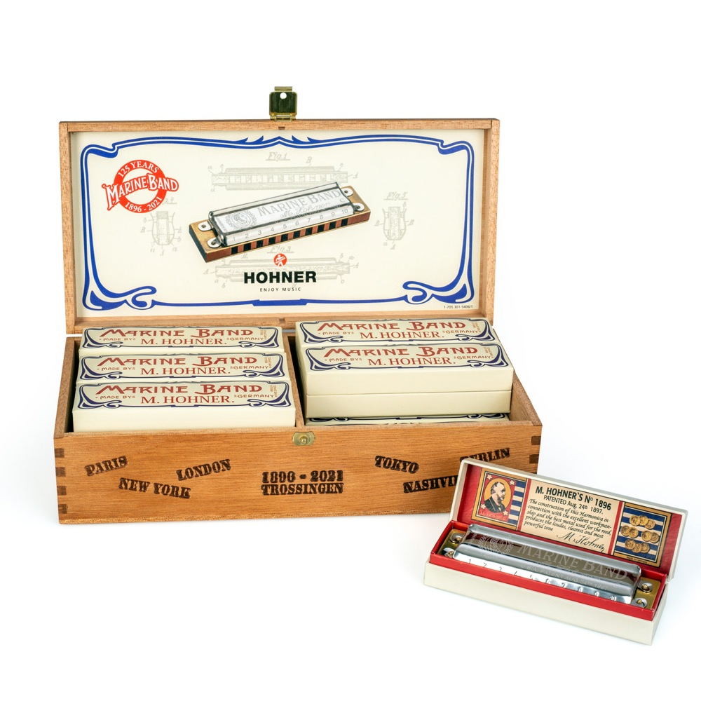 HOHNER 125th ANNIVERSARY MARINE BAND C DISPLAY マリンバンド ハーモニカ 12本 木箱入り