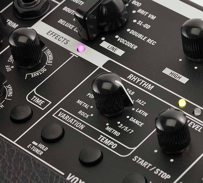 MINI GO シリーズギターアンプコントロールパネル リズムセレクト部分画像
