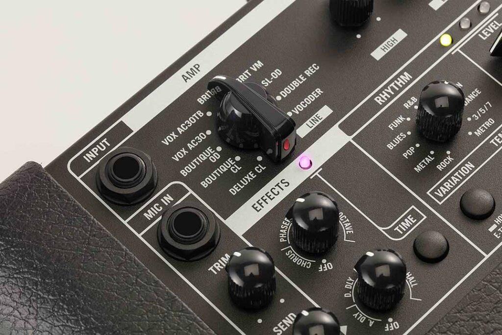 MINI GO シリーズギターアンプコントロールパネル アンプセレクト部分画像
