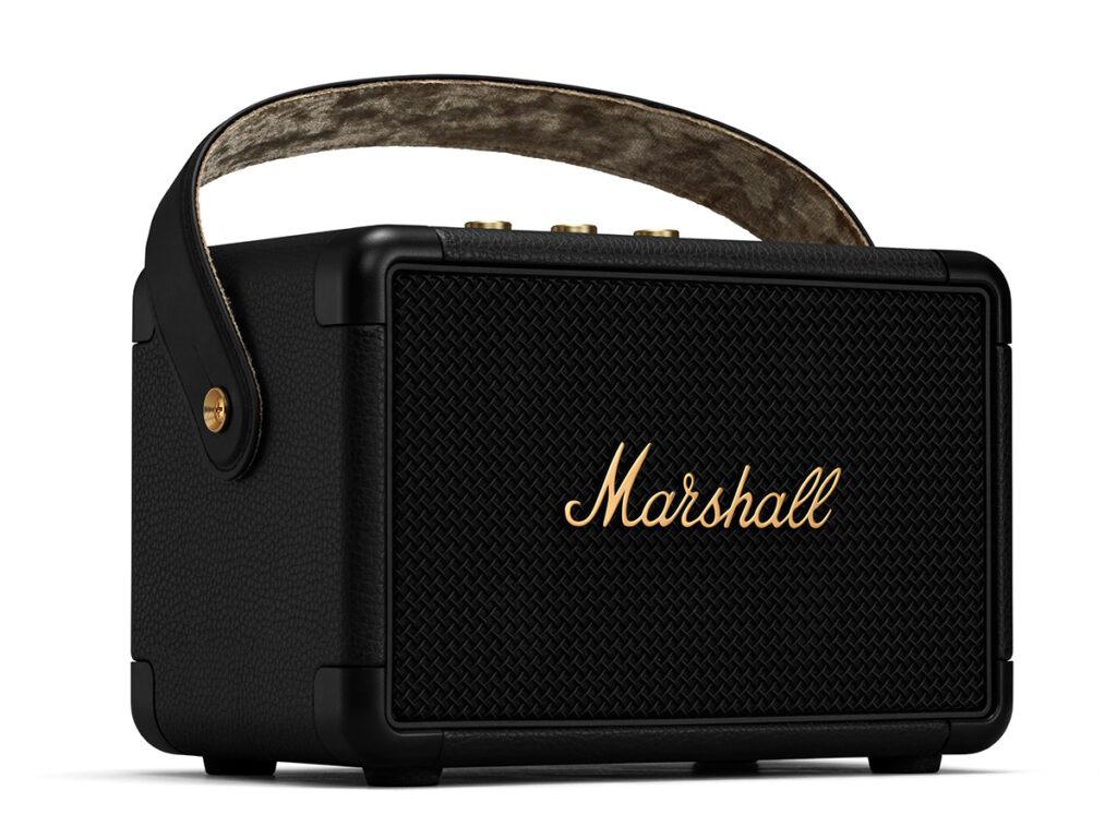 MARSHALL KILBURN Ⅱ Black and Brass ワイヤレススピーカー 左全面からの画像
